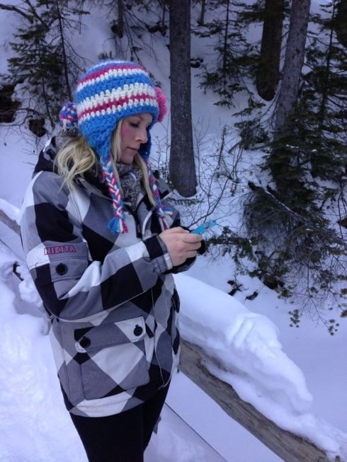 A bride's job is never done. Texting on the hike