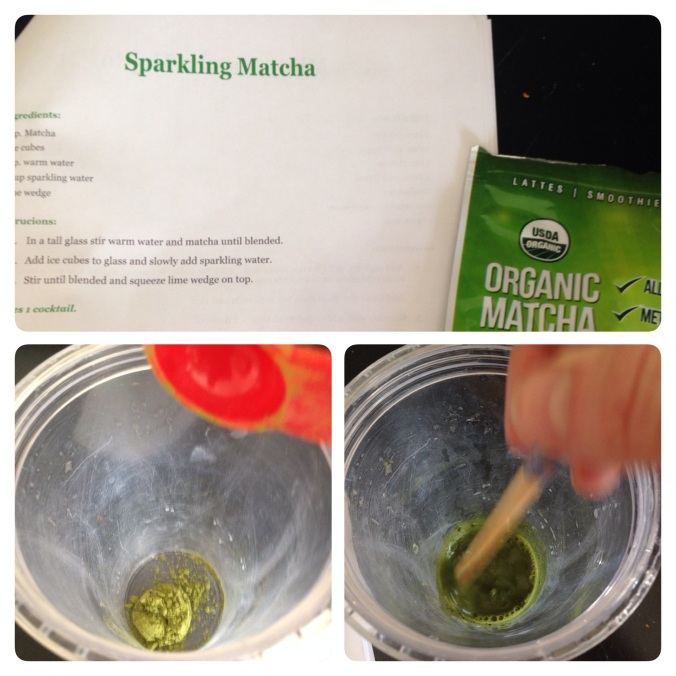 This is a simple recipe- 1 tbsp. matcha green tea powder, mix with 2 tbsp. warm water
