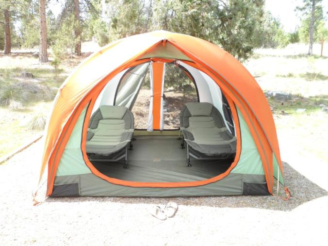 A couple cots may make sleeping in a tent easier
