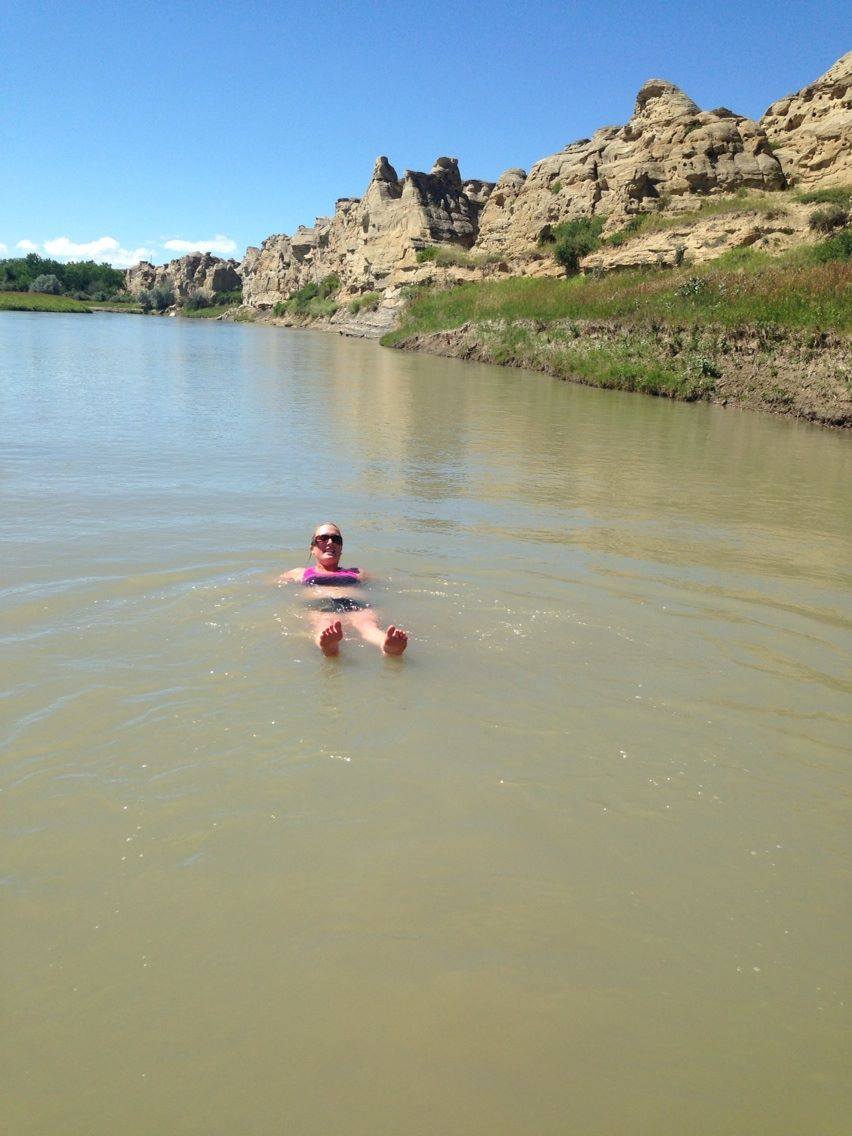 The water may be brown but it felt amazing after some hoodoo climbing in the sun!