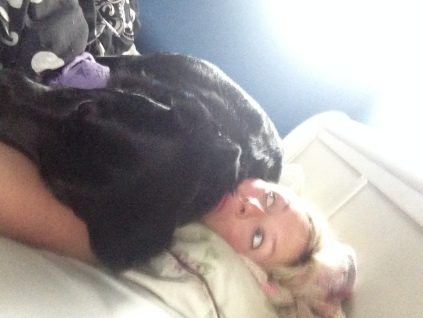 I wouldn't get up one Sunday morning so he laid on my face.