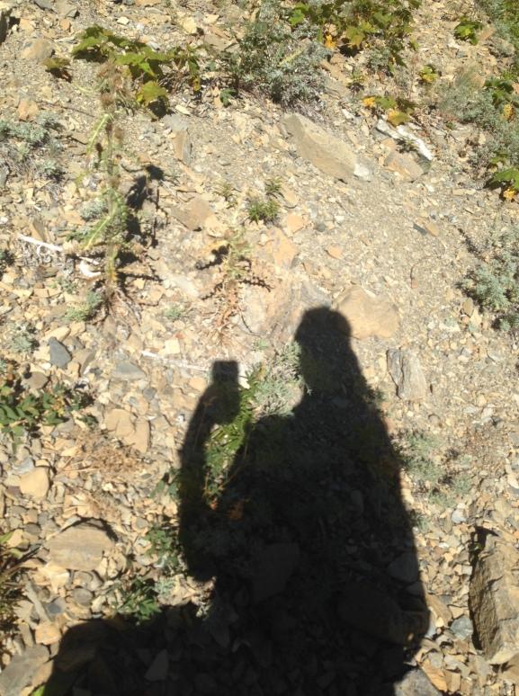 Walking through the loose rock